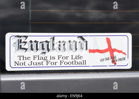 Stickers on a Volkswagen Camper van England 'The Flag is for life not just for Football' - Stock Photo