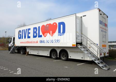 Scotblood mobile blood donation unit in hospital car park in Scotland, UK - Stock Photo