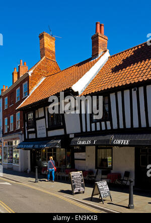 Half timbered buildings in Newark on Trent town centre Nottinghamshire England UK - Stock Photo