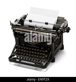Old Retro Black Typewriter Isolated on White Background. - Stock Photo