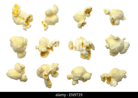 Different Pieces of Popcorn Isolated on White Background. - Stock Photo
