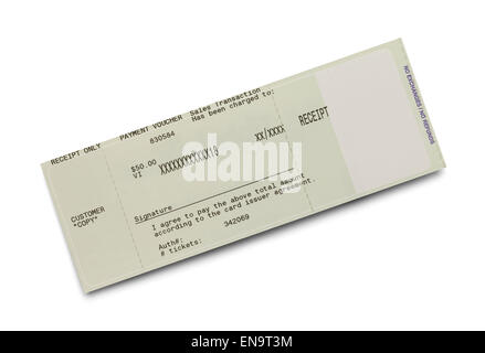 Credit Card Ticket Receipt Isolated on White Background. - Stock Photo