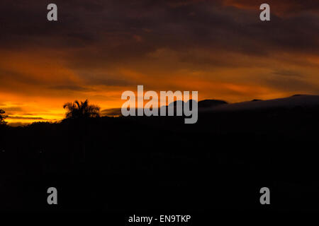 Cuba valley Valle de Vinales panorama view hills palm trees at sunset dramatic orange sky & storm clouds - Stock Photo