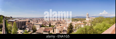 Panoramic view of the old and new quarters of the city of Girona, Catalonia, Spain. - Stock Photo