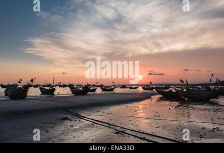Mui Ne Fishing Village At Sunset - Stock Photo