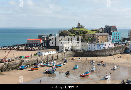 Tenby harbour beach and the new and old lifeboat stations, Pembrokeshire, Wales, United Kingdom - Stock Photo