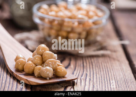 Portion of preserved Chick Peas (close-up shot) - Stock Photo