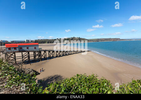 The old 1905 RNLI Lifeboat Station, North beach, Tenby, Pembrokeshire, Wales, United Kingdom - Stock Photo