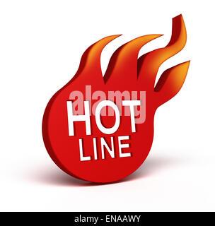Hot Line icon over white - Stock Photo