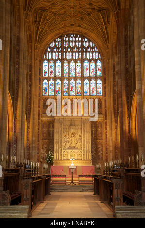 Church architecture. The magnificent medieval interior of Sherborne Abbey looking towards the High Altar and the - Stock Photo