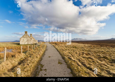 Moine abandoned cottage on old road between Tongue and Durness, Sutherland - Stock Photo