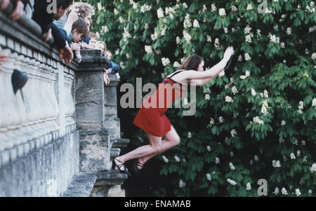 FILE PHOTOS: Oxford, Oxfordshire, UK. 1st May, 1997. Oxford May Morning. A woman jumps into the River Cherwell from - Stock Photo