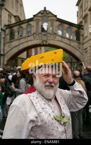 FILE PHOTOS: Oxford, Oxfordshire, UK. 1st May, 2014. Oxford May Day. Man with cheese on head. Mike Breakell is the - Stock Photo