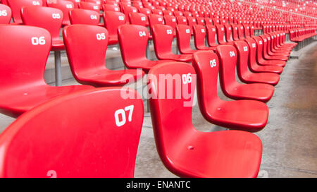 Stair and row of empty seats in stadium. - Stock Photo