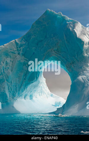 Natural Arch carved in an iceberg, Antarctic Sound, Antarctic Peninsula Stock Photo