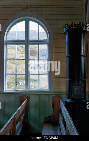 Whaler's Church, Interior, Former Grytviken Whaling Station, South Georgia - Stock Photo