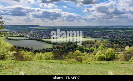 A view from White Leaf Hill over Princes Risborough and the Aylesbury Vale - Stock Photo
