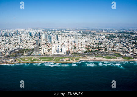 Aerial Photography of Charles Clore Park and the Mediterranean Sea, Tel Aviv, Israel - Stock Photo