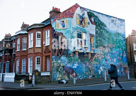 Big Splash street Mural in Glenelg Road by Christine Thomas in 1985 in Brixton South London - Stock Photo