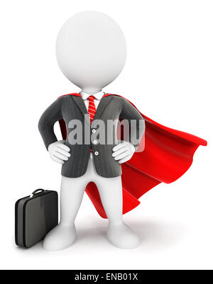 3d white people businessman superhero, isolated white background, 3d image - Stock Photo