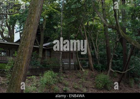 Wooden house in a park in Odawara, Kanagawa Prefecture, Japan - Stock Photo