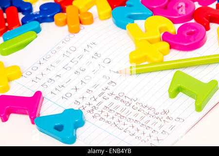 Studying maths, doing some calculations - Stock Photo