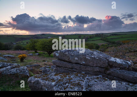 Warm evening light falling on bodmin moor near siblyback in east cornwall - Stock Photo