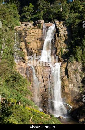 Lower Ramboda Falls waterfall, Ramboda Oya river, near Nuwara Eliya, Central Province, Sri Lanka, Asia - Stock Photo