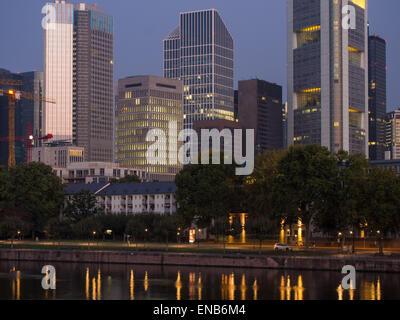The skyline of Frankfurt, Germany, at sunrise - Stock Photo