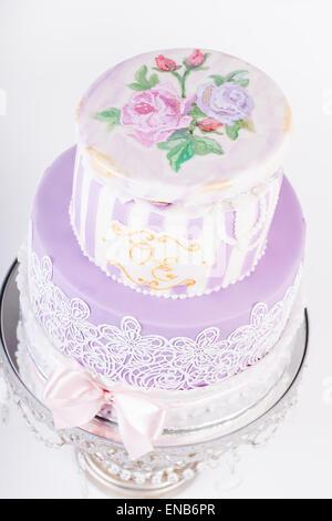 Delicious luxury white wedding or birthday cake - Stock Photo