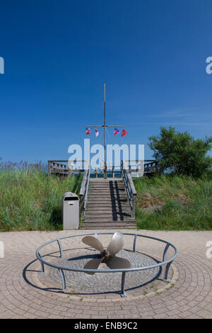 Sailors' monument along the promenade at the seaside resort Haffkrug, Scharbeutz, Schleswig-Holstein, Germany - Stock Photo