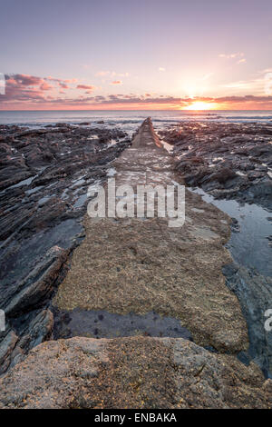 Porthleven cornwall england uk sunset out to sea - Stock Photo