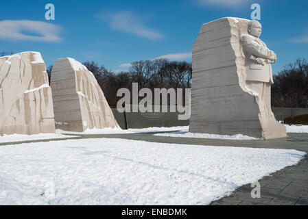 WASHINGTON DC, USA - Snow covers the Martin Luther King Jr Memorial on the banks of the Tidal Basin after a winter - Stock Photo