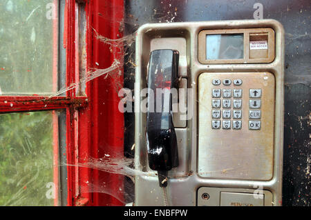 Spiders web across  a handset in an old telephone  kiosk - Stock Photo
