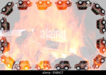 Frame of Fireman toys car. Italian little model of italian 'vigili del fuoco' - Stock Photo