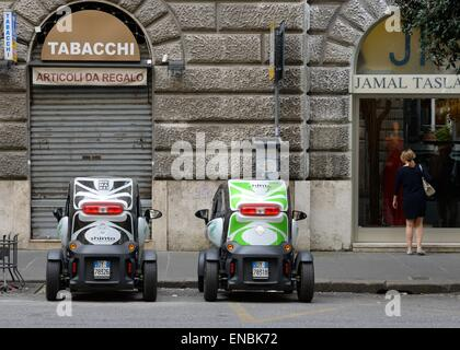 Two Renault Twizy cars parked side by side in Rome, Italy - Stock Photo