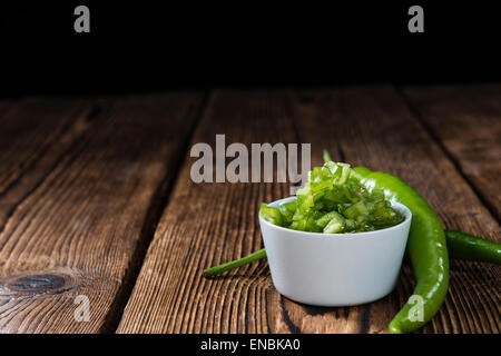 Preserved Green Chilis (in native olive oil) - Stock Photo