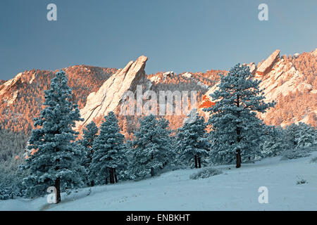 Flatirons covered in snow, Boulder Open Space and Mountain Park, Boulder, Colorado USA - Stock Photo