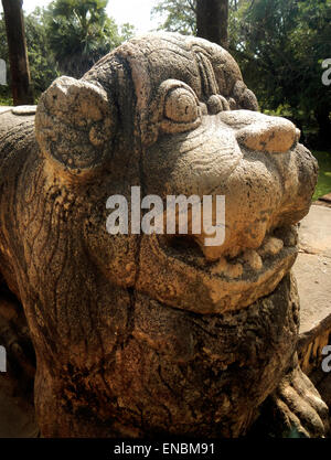 Entrance steps with lions, Council Chamber of King Nissankamalla, UNESCO World Heritage SIte, Polonnaruwa, Sri Lanka, - Stock Photo