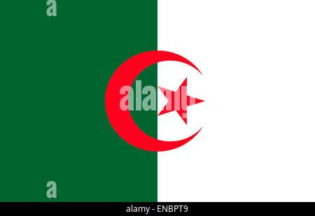 National flag of the People's Democratic Republic of Algeria. - Stock Photo