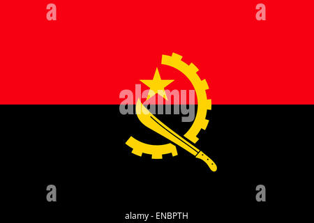 National flag of the Republic of Angola. - Stock Photo