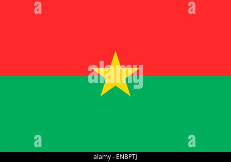 National flag of the Republic of Burkina Faso. - Stock Photo