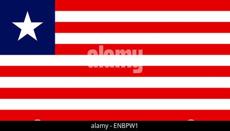 National flag of the Republic of Liberia. - Stock Photo