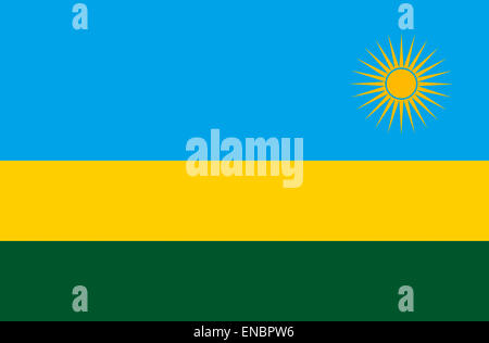 National flag of the Republic of Rwanda. - Stock Photo