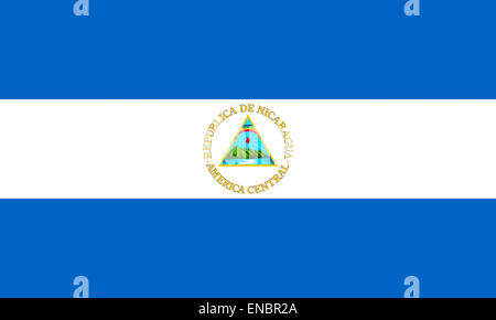 National flag of the Republic of Nicaragua. - Stock Photo