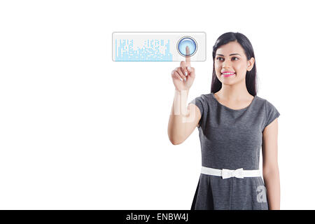 1 indian Business woman Working Software Technology - Stock Photo