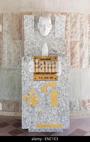 Statue to Monsignor Manuel Vaz Coutinho in the exterior of the Crypt of the Sao Bento da Porta Aberta Sanctuary, - Stock Photo