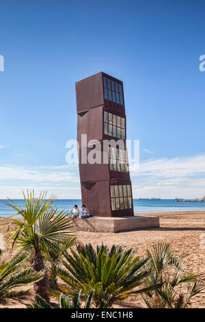 Estel Ferit sculpture by Rebecca Horn, on the beach at Barcelona, Catalonia, Spain. - Stock Photo