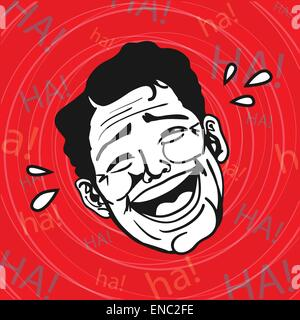 Vintage Retro Clipart : Lol, Man Laughing Out Loud - Stock Photo