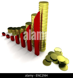 rows of gold stack, arrowed chart - Stock Photo